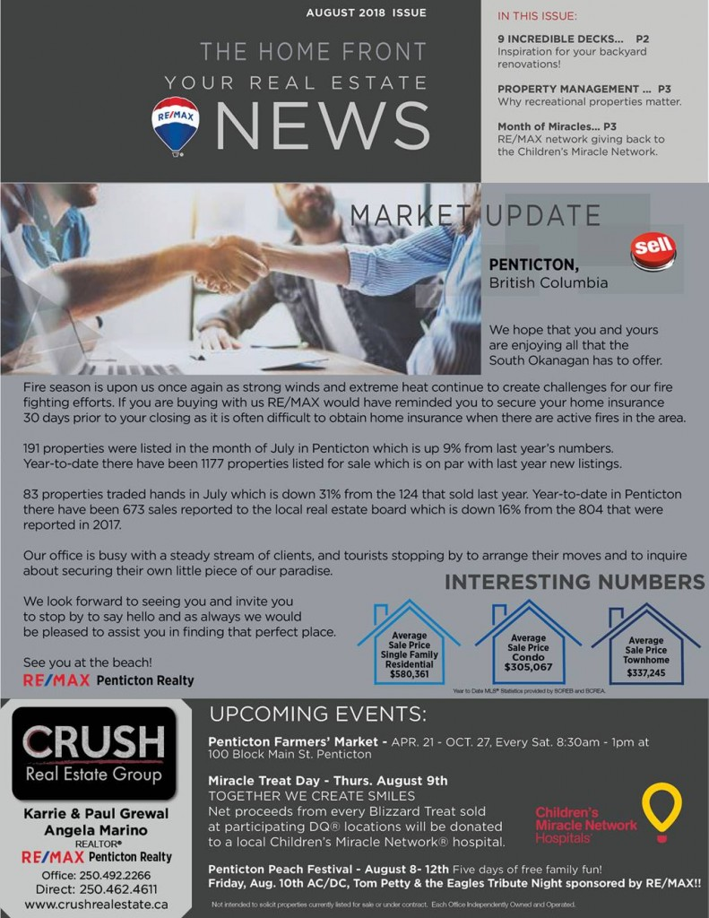 South Okanagan Real Estate News – August 2018